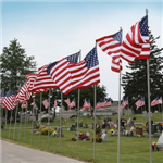 Flags at Oak Hill Cemetery